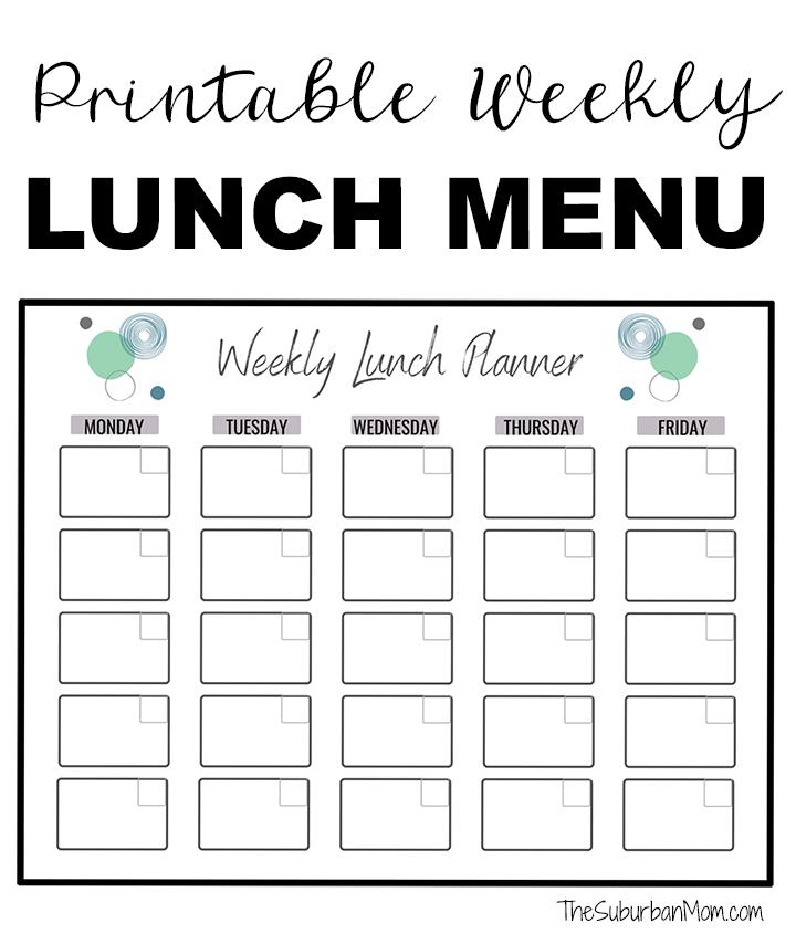 Printable Weekly Lunch Menu