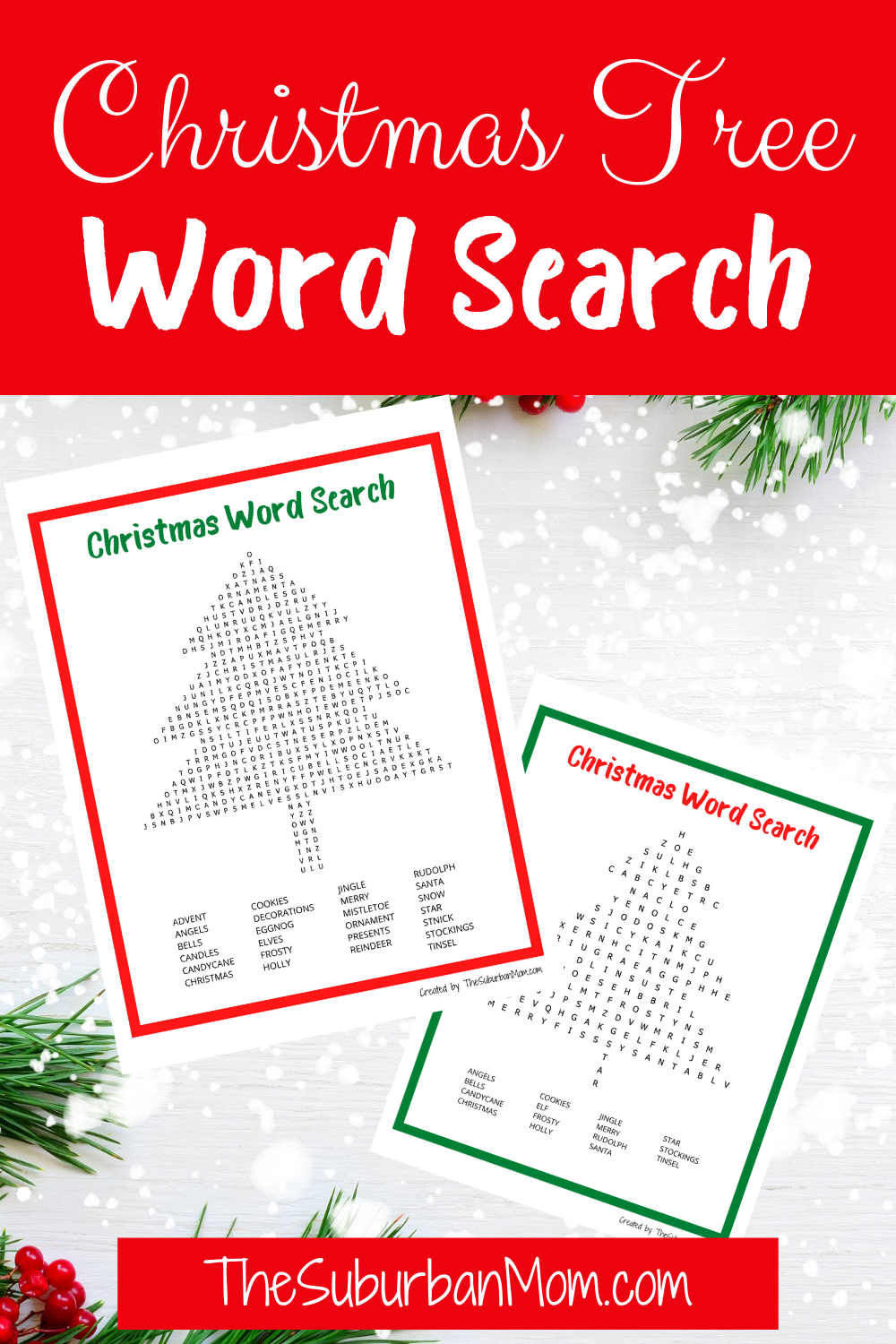 Christmas Word Tree Search Free Printable