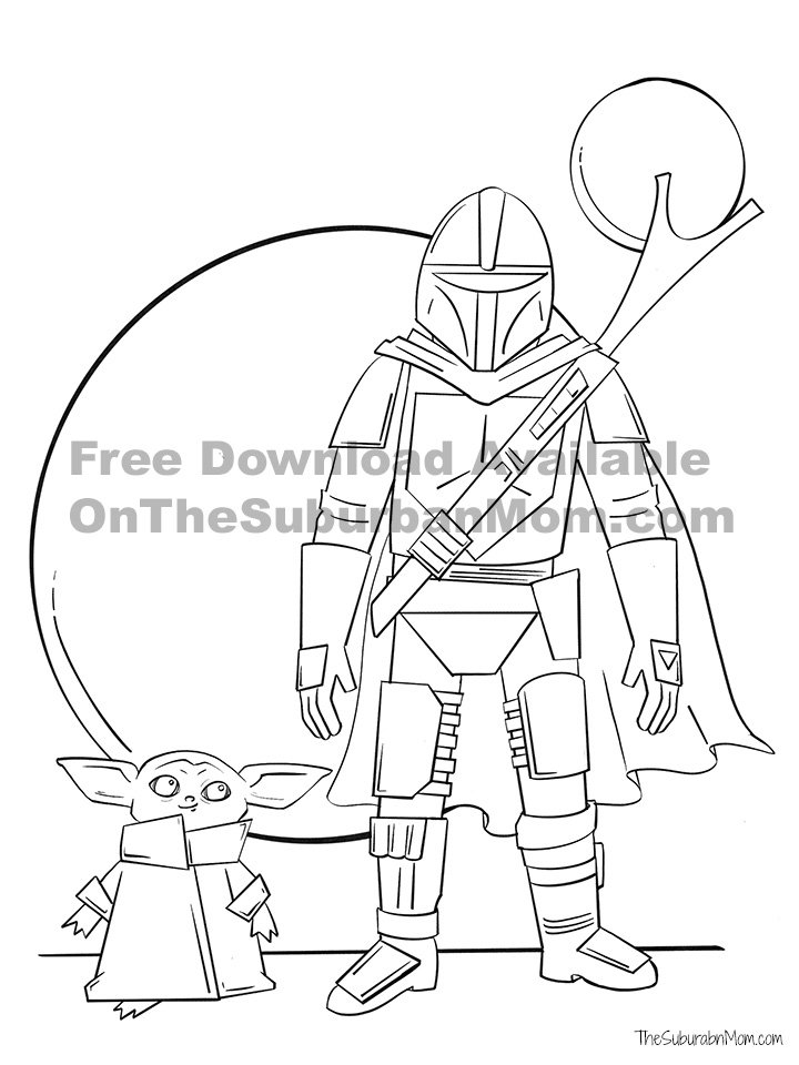 Free Mandalorian Baby Yoda Coloring Sheet