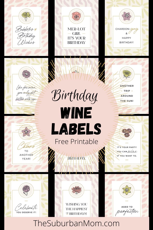 Free Printable Birthday Wine Labels