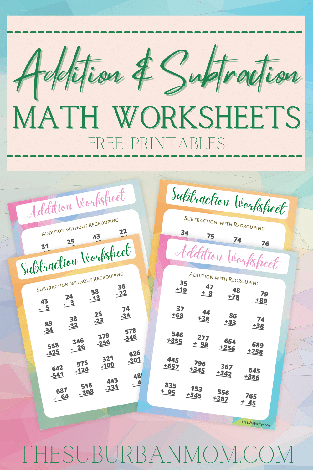 Free Addition Subtraction Math Worksheets Printable