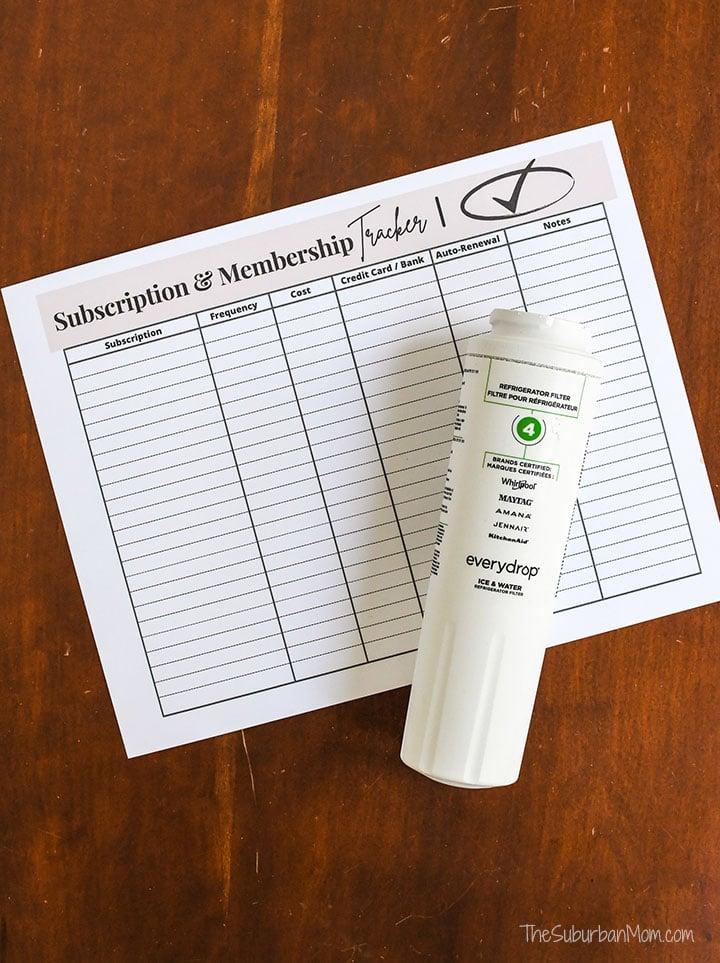 Subscription Membership Tracker Free Printable