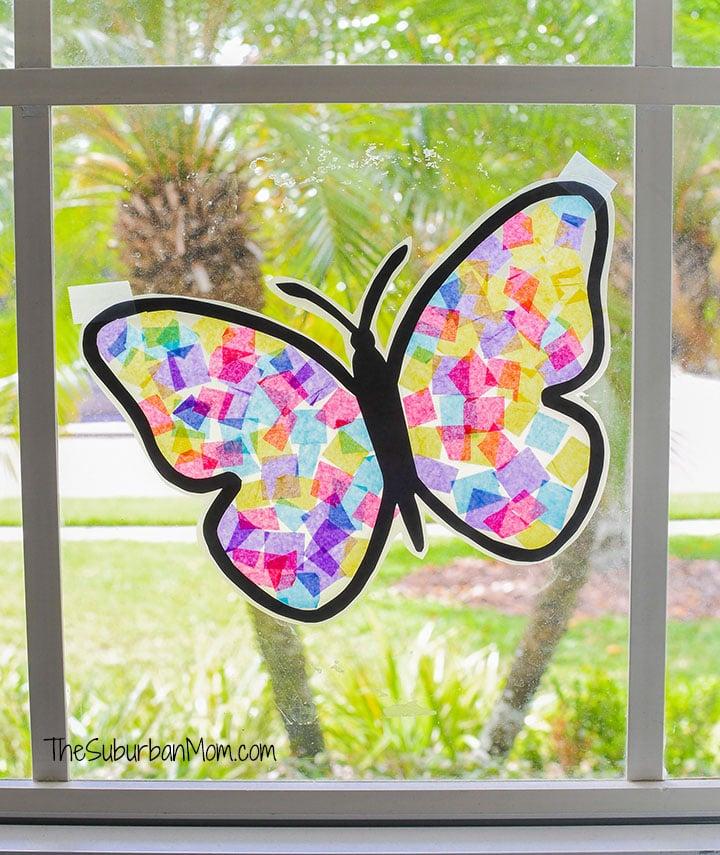 Tissue Paper Butterfly Suncatcher Craft